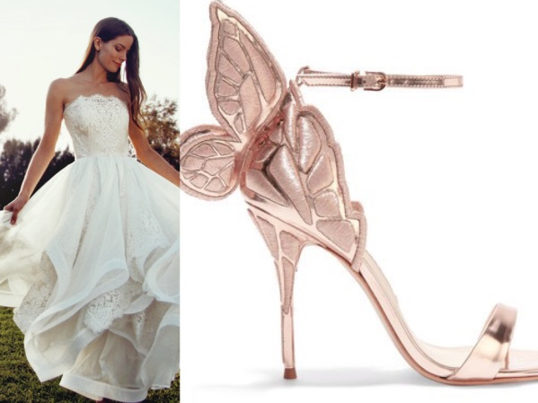 Whimsical Sophia Webster copper ankle wedding shoes paired with Lauren Elaine Haven wedding gown