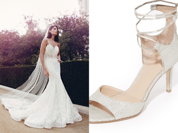 Classic Diane Von Furstenberg ivory lace up wedding shoes compliment Lauren Elaine backless lace trumpet Ember bridal dress