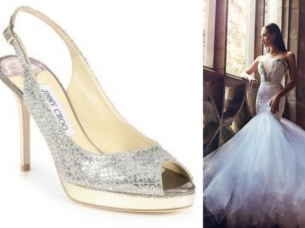 Metallic sliver and gold snakeskin Jimmy Choo wedding heels paired with crystal mermaid wedding dress by Lauren Elaine E