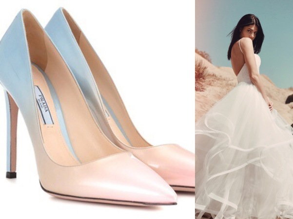 Ombre blush and blue Prada wedding pumps paired with sequin ball gown wedding dress by Lauren Elaine Bridal