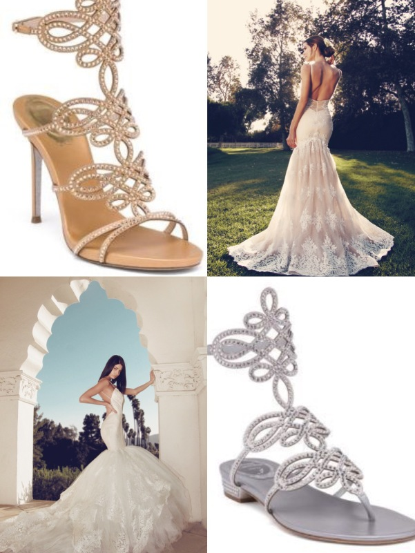 Swarovski crystal Rene Caovilla gold and silver wedding sandals paired with Lauren Elaine Arabelle and Vaile dresses