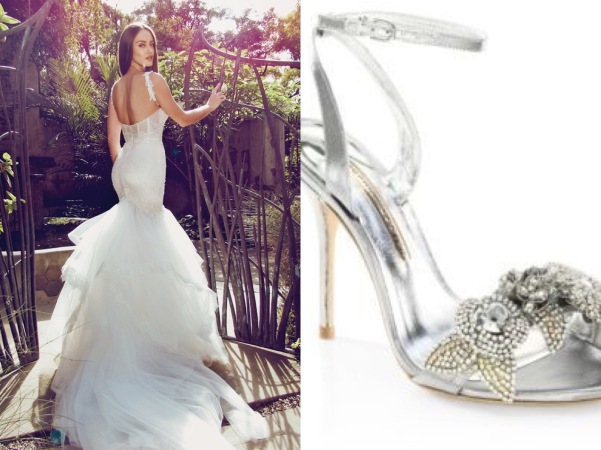 Sophia Webster lilico crystal wedding shoe paired with crystal lace Capella wedding dress by Lauren Elaine Bridal