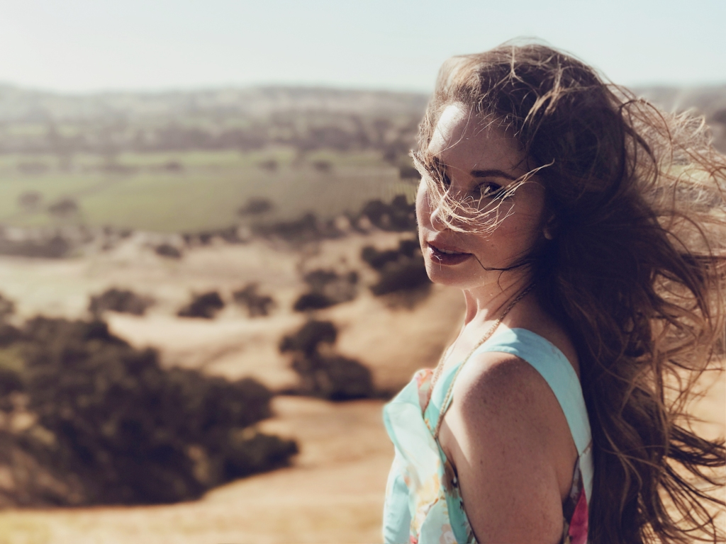 Fashion Designer Lauren Elaine takes in a scenic vista on the Foxen Canyon in Los Olivos