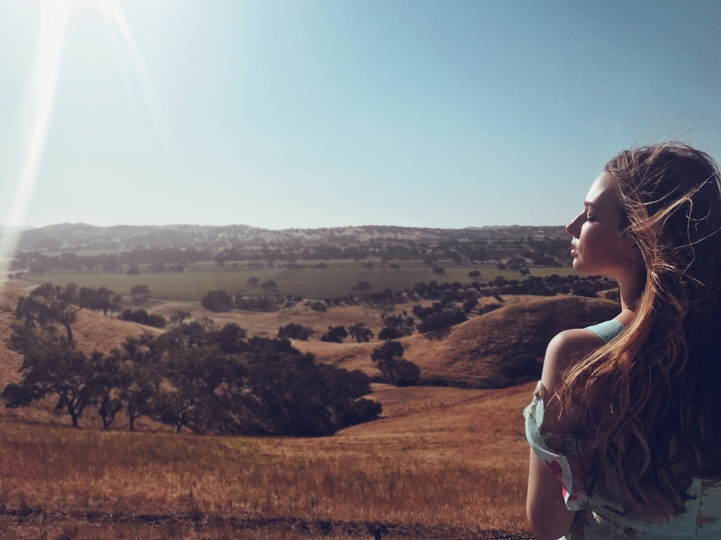 Fashion Designer Lauren Elaine of Once Upon a Seam Blog takes a scenic view off Foxen Canyon in Santa Ynez central coast of California