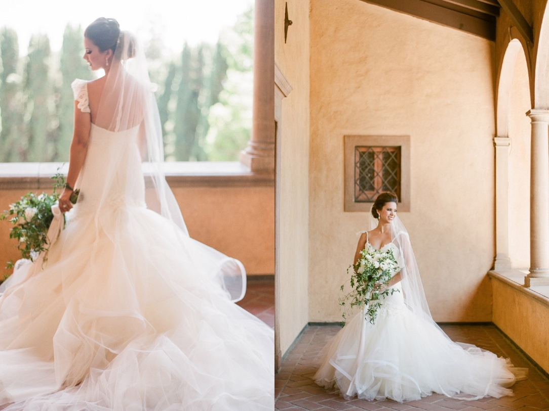 Bride nicole wears a custom lauren elaine aurelia backless mermaid wedding gown with cathedral tulle veil at villa del sol de oro in pasadena california