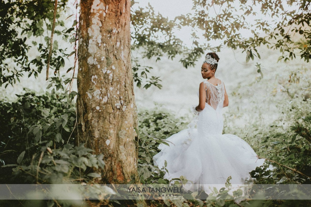 Bride Lynnel wears a custom Lauren Elaine Bridal Jasmine wedding dress with crystal bridal tiara and bolero in an enchanted forest