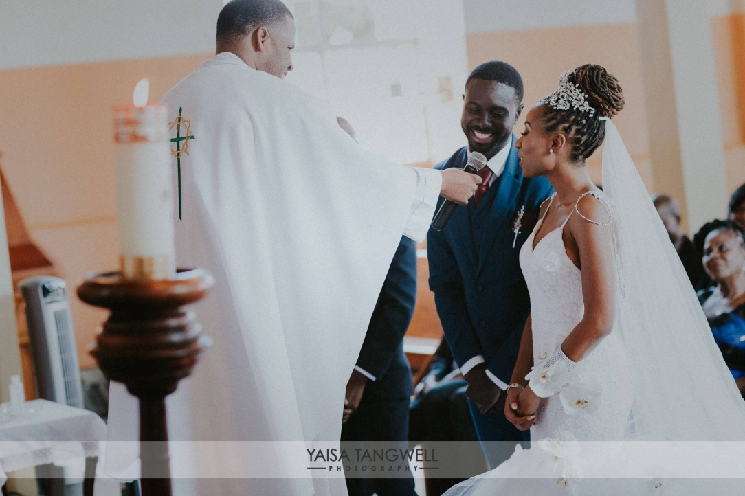 Bride and Groom during their church ceremony in trinidad and tobago wedding nuptials
