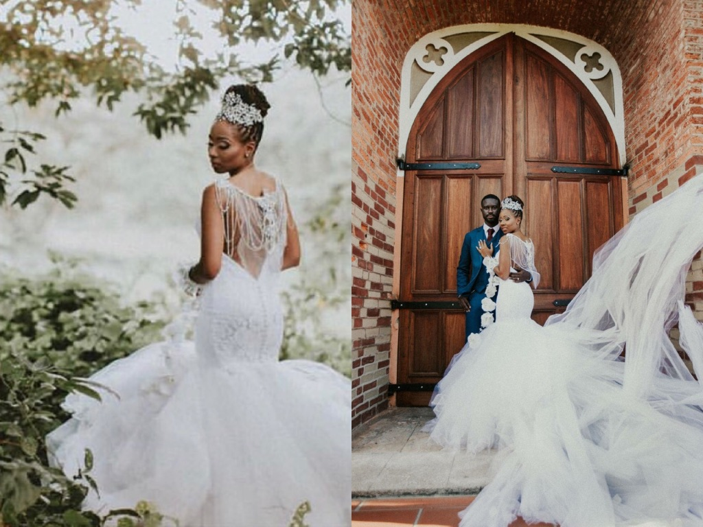 Bride Lynnel wears a custom Lauren Elaine Bridal Jasmine mermaid lace wedding dress with crystal bolero and cathedral train