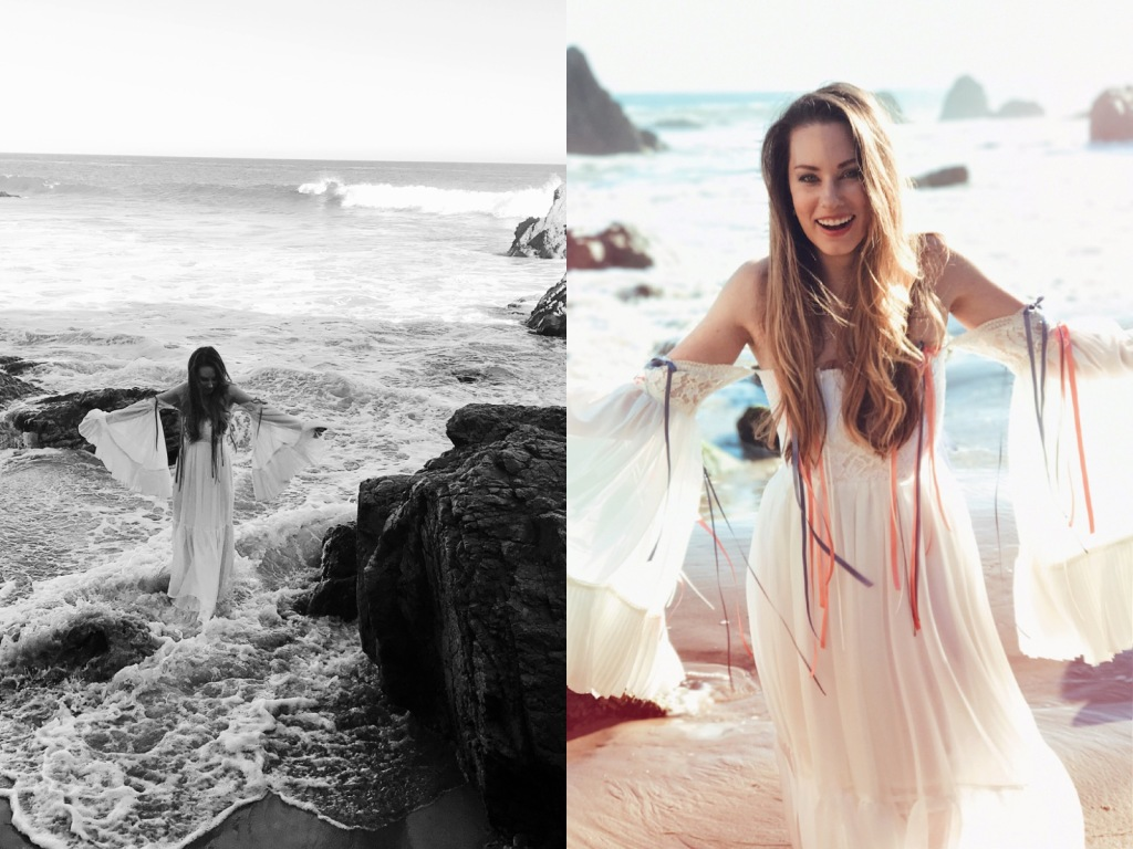 Fashion Designer Lauren Elaine wades int he ocean in bohemian off-the-shoulder wedding dress