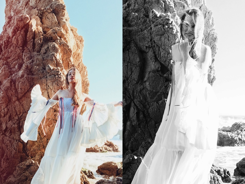 Ethereal fashion editorial images of designer Lauren Elaine in malibu wearing a custom off-the-shoulder wedding dress