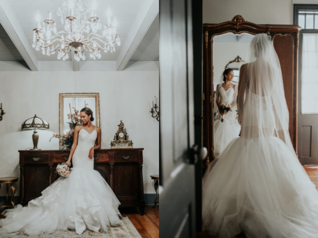 Lafayette Louisiana Wedding for bride Harmony in lauren elaine arabelle gown bridal portraits