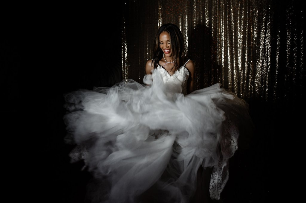 Photo booth candids of bride Harmony in her Lauren Elaine Arabelle wedding dress
