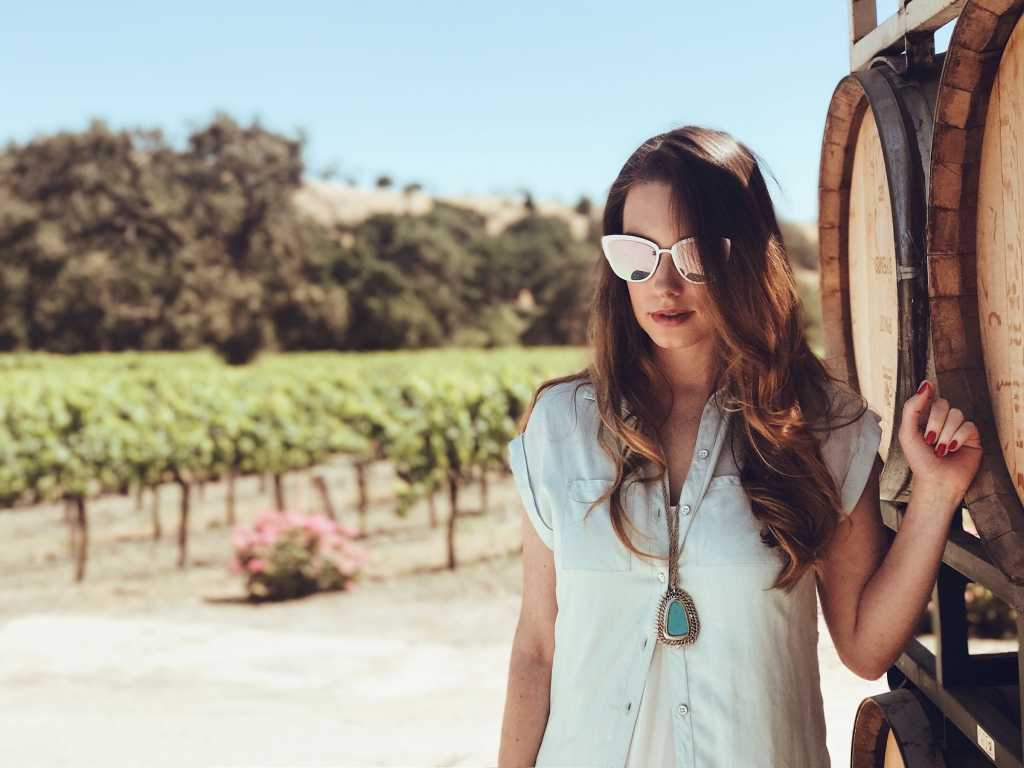 Los Angeles bridal designer lauren elaine visits fess parker winery