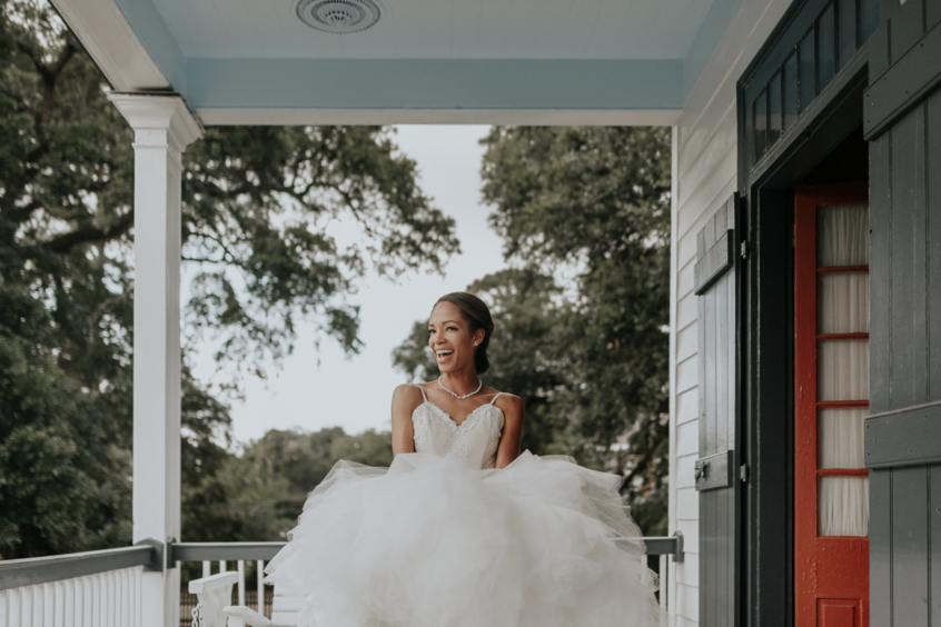 Bride Harmony in Lafayette, Louisiana in her custom Lauren Elaine Arabelle wedding dress