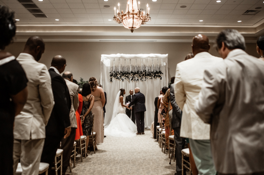 Nuptials at La Pavillion in Lafayette, Louisiana featuring Lauren Elaine Arabelle wedding dress gown