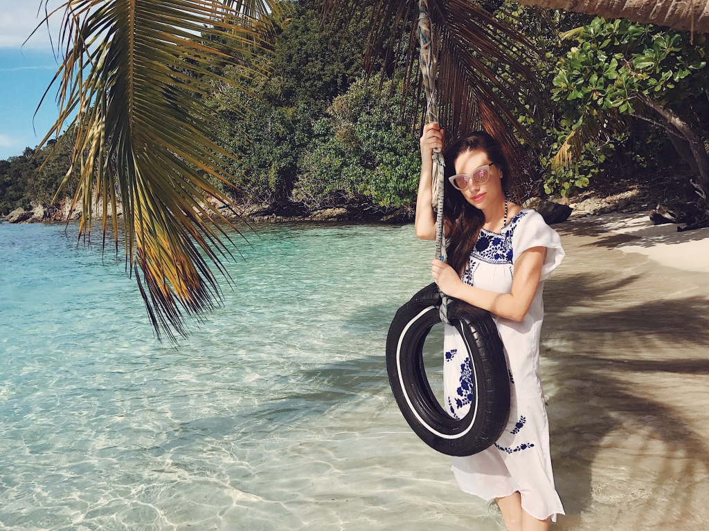 Fashion designer Lauren Elaine explores Oppenheimer Beach on Saint John in the US Virgin Islands