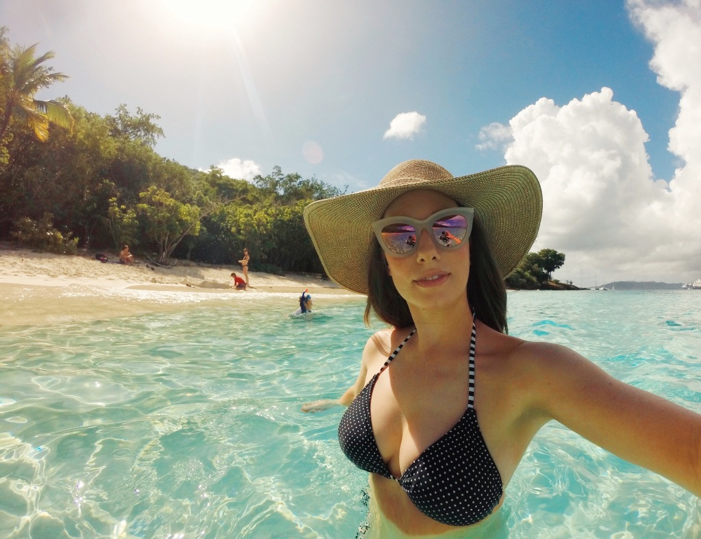 Fashion Designer Lauren Elaine explores Honeymoon Beach on St John US Virigin Island