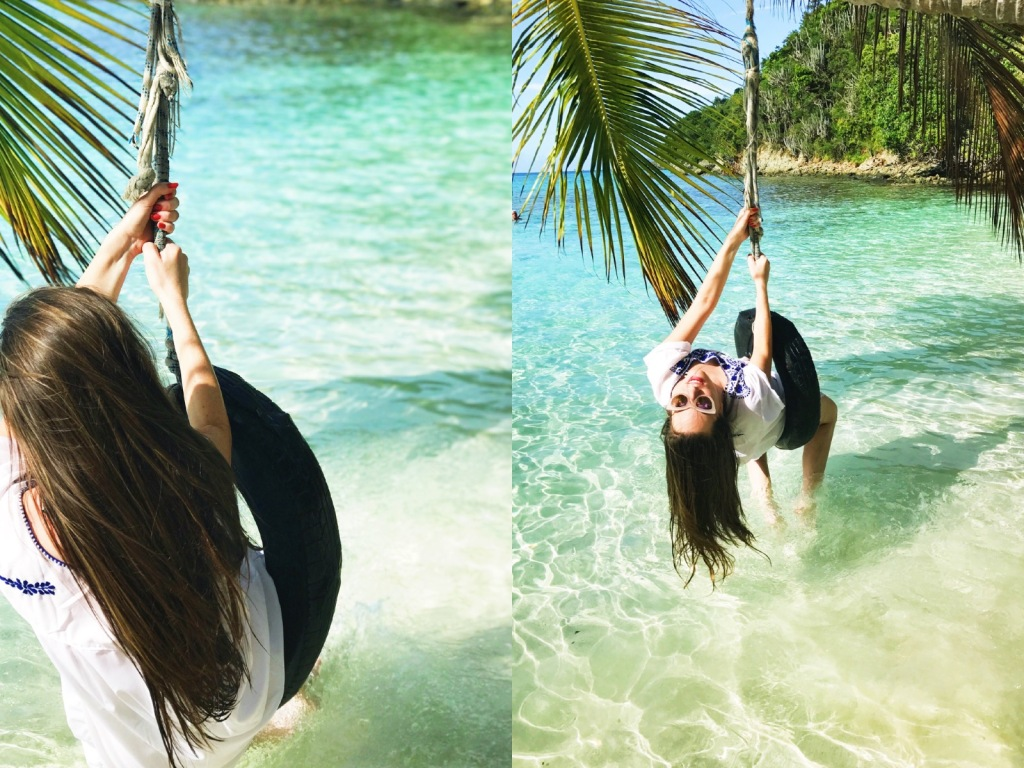 Fashion Designer Lauren Elaine explores St John's Oppenheimer Beach and tire swing