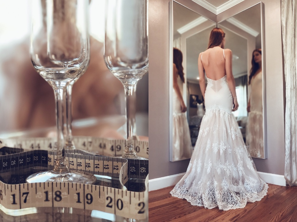 A model tries on a blush wedding dress at the Lauren Elaine Flagship Bridal Salon in Los Angeles, CA