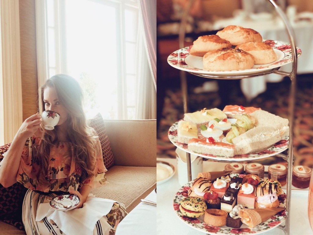 Los Angeles Bridal Designer Lauren Elaine explores the Langham Huntington Pasadena afternoon tea service with wedgewood