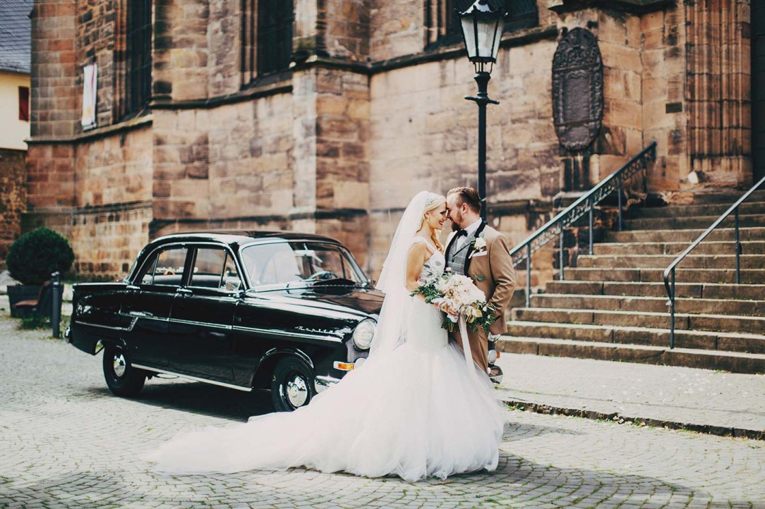 Bride Hannah wears her Lauren Elaine Oriana mermaid wedding dress in Germany