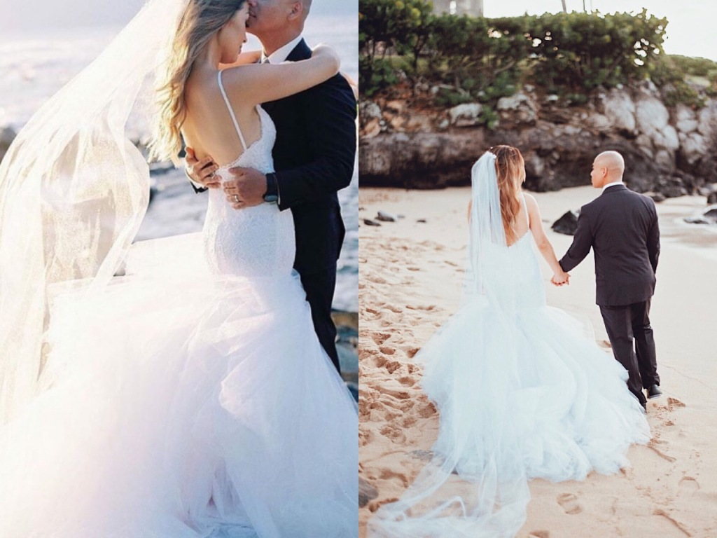 Bride Erika ties the knot in a Jasmine mermaid wedding gown by Lauren Elaine Bridal in Maui, Hawaii