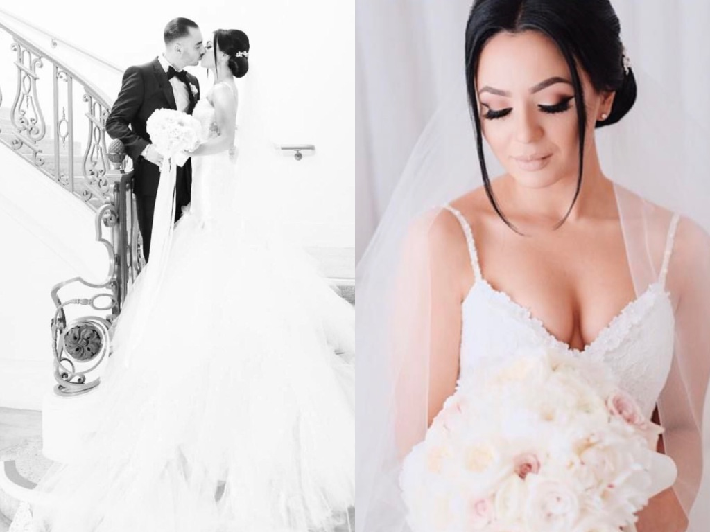 Bride Galina wears a custom Oriana mermaid wedding gown by Lauren Elaine Bridal of Los Angeles