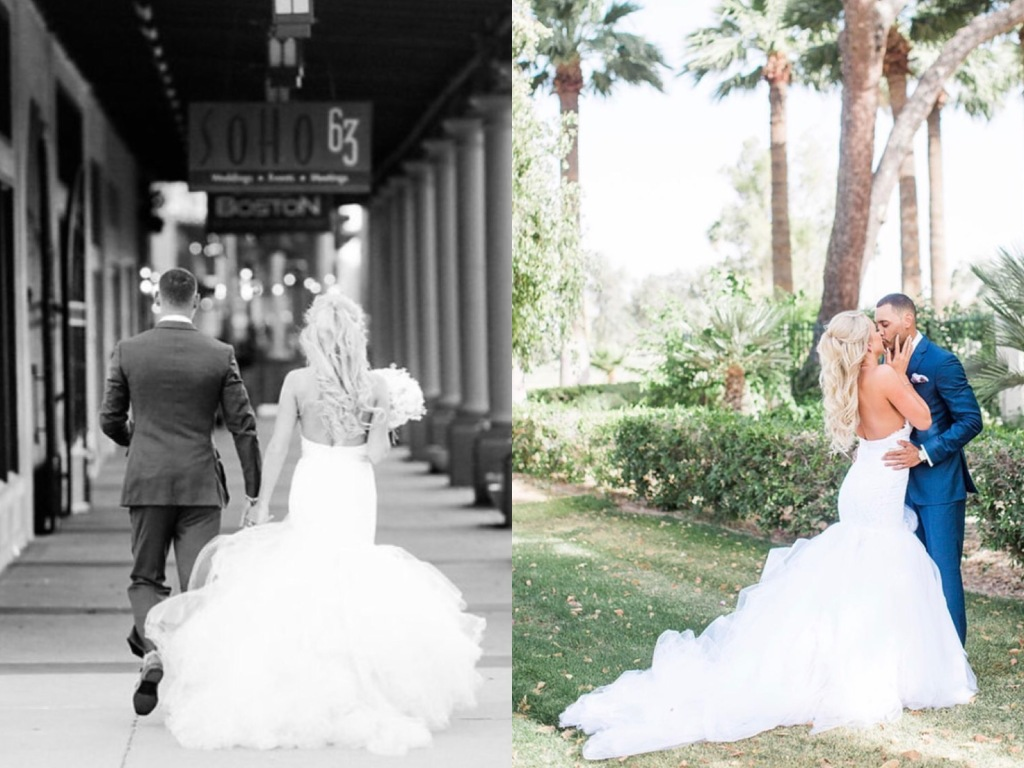 Bride Jamie ties the knot in Arizona wearing a custom Lauren Elaine Jasmine Bridal mermaid wedding gown