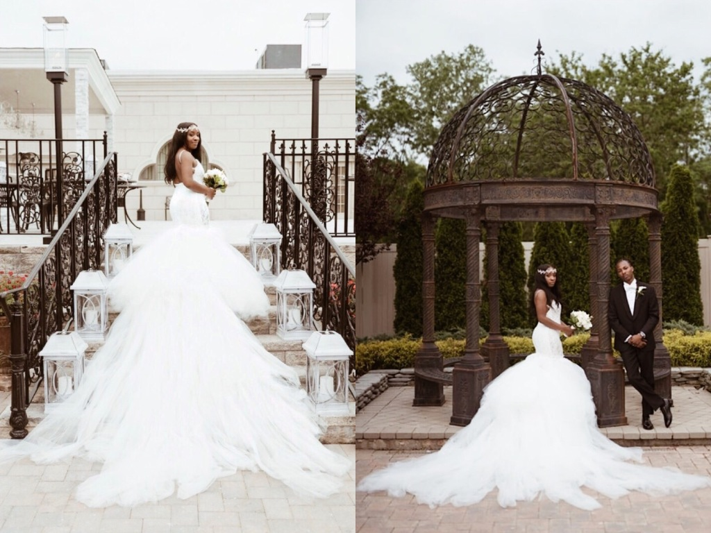 Bride Anita ties the knot at Ariana Grand in New Jersey wearing a custom mermaid wedding dress by Lauren Elaine with 8ft train