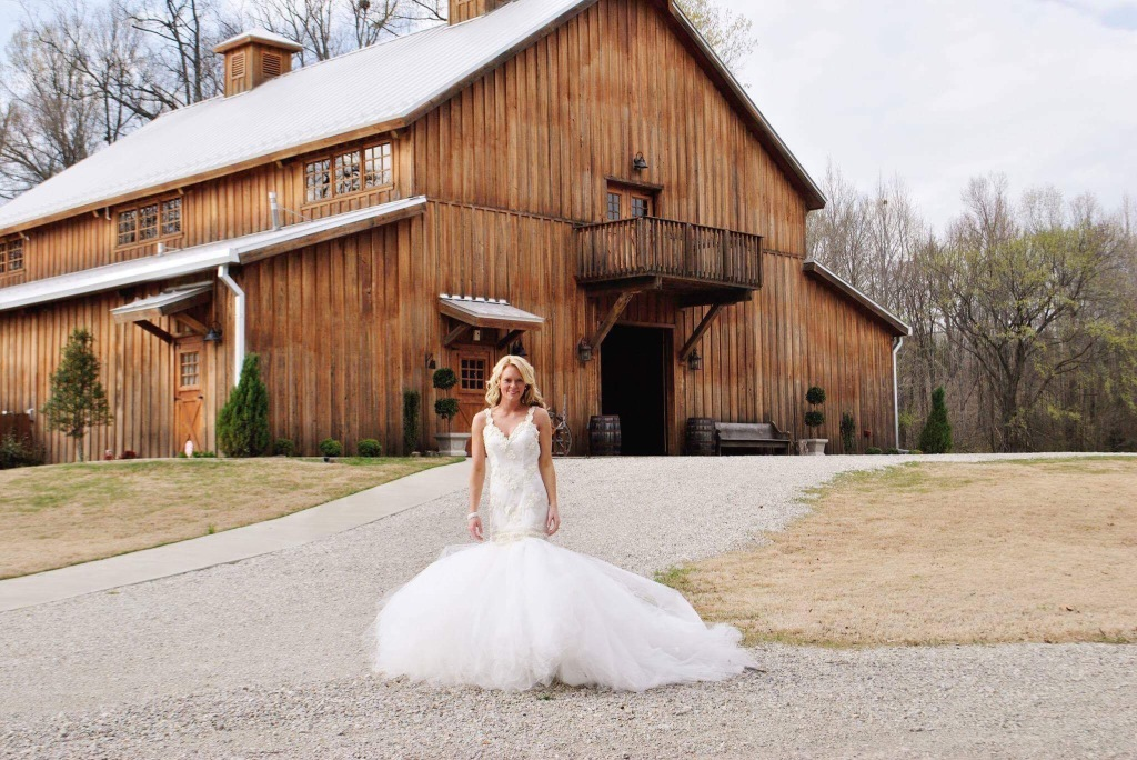 "Bride Kodi wears her custom Lauren Elaine ""Wisteria"" mermaid wedding dress in Arkansas"