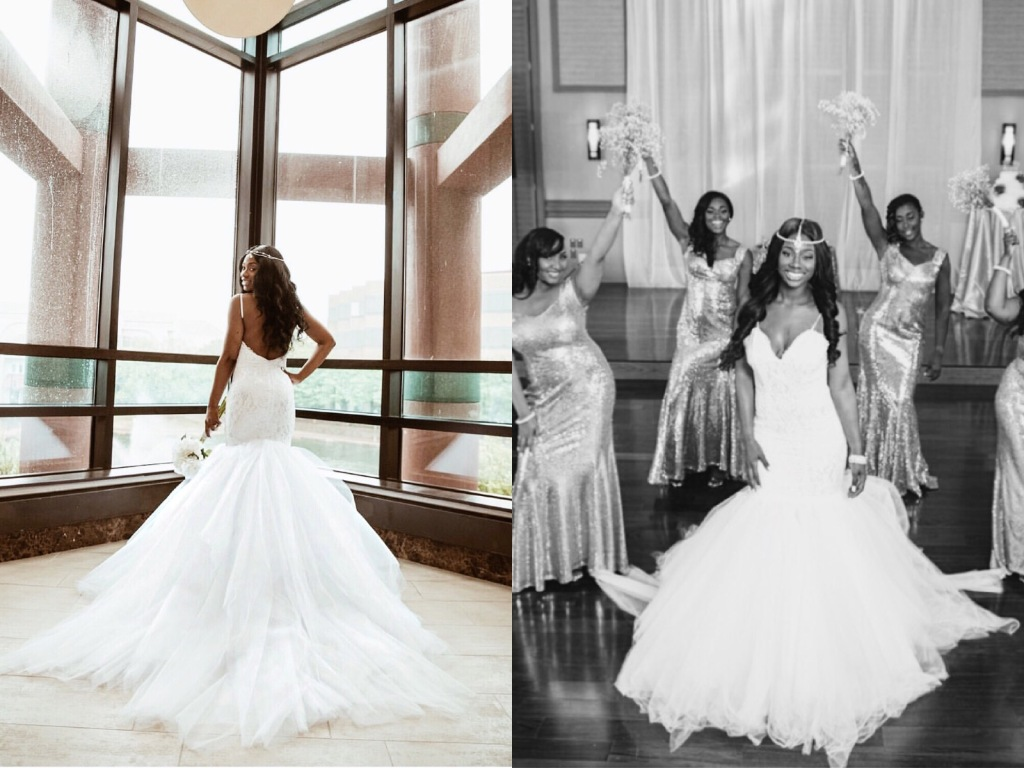 Custom Lauren Elaine Jasmine wedding gown with detachable cathedral train