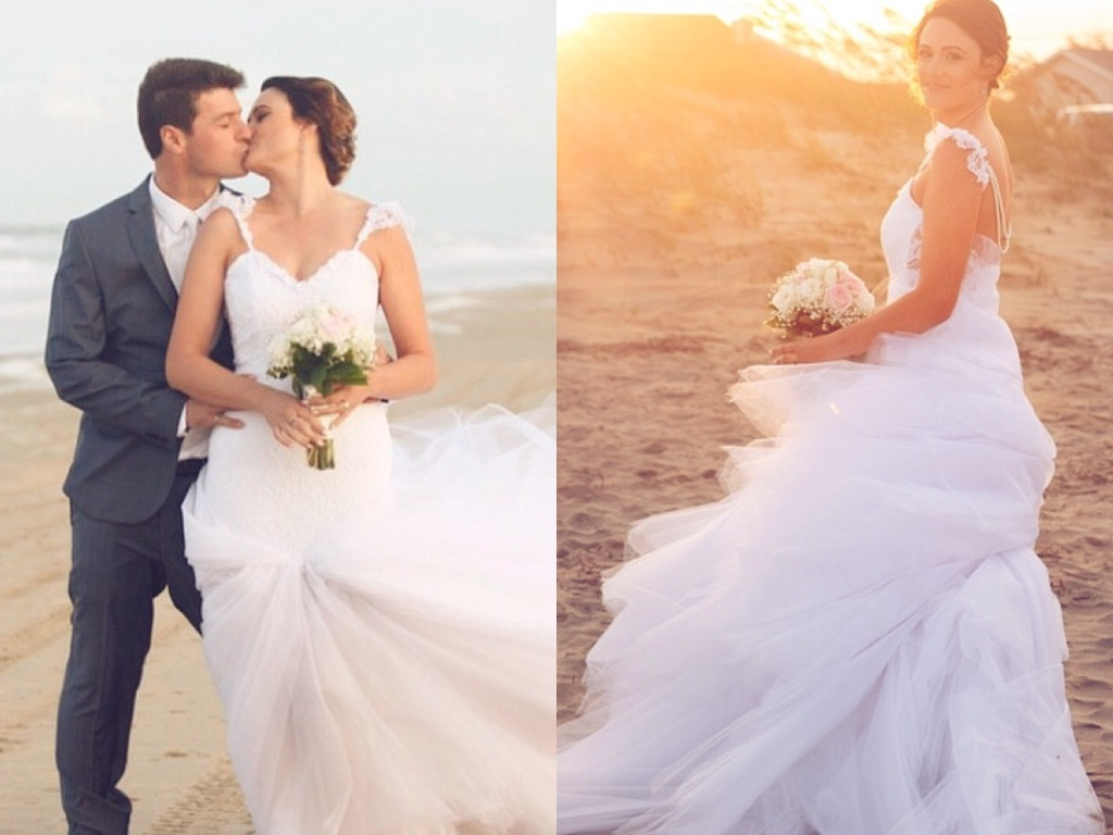 Lauren Elaine mermaid wedding dress on beach in Virginia