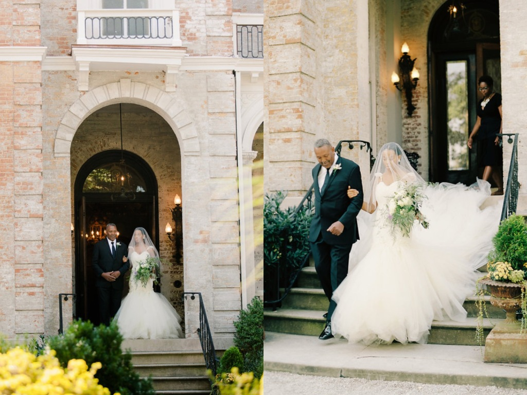 "Bride Deidre ties the knot in Memphis, TN wearing a custom Lauren Elaine ""Aurelia"" wedding dress with 8ft cathedral train"