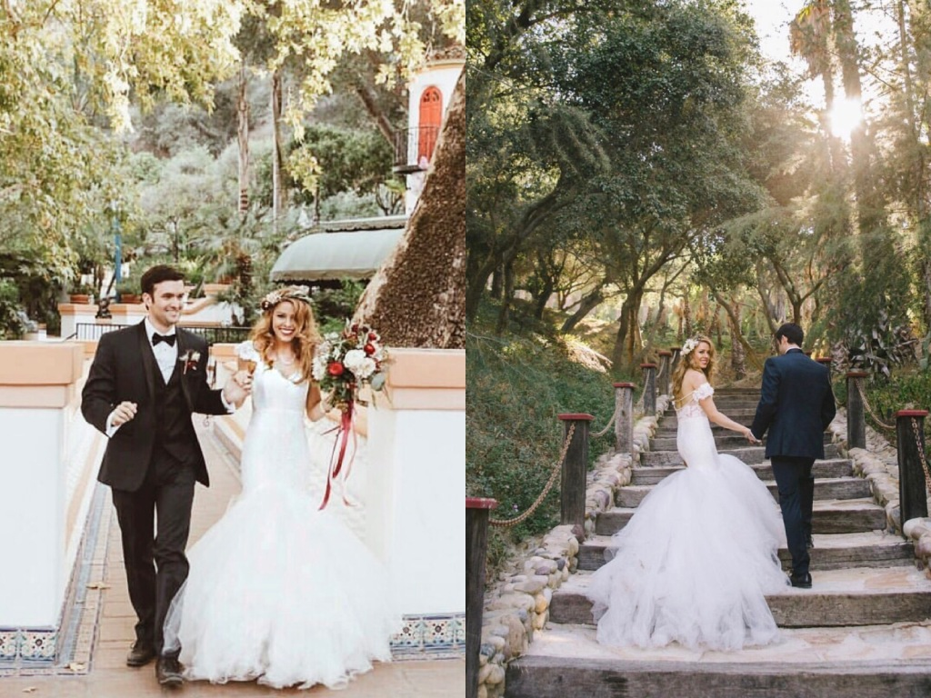 Bride Tracy tied the knot in a custom Lauren Elaine Oriana Gown with detachable cathedral tulle train