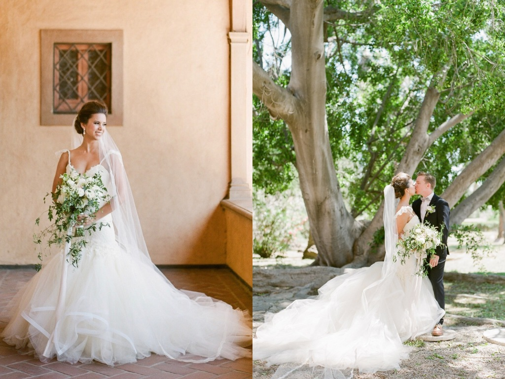 Bride Nicole wears a custom Lauren Elaine Aurelia gown at her wedding in Pasadena, California