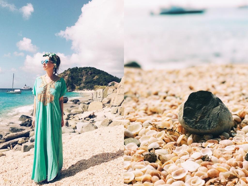 Designer Lauren Elaine walks along Shell Beach in St. Barts