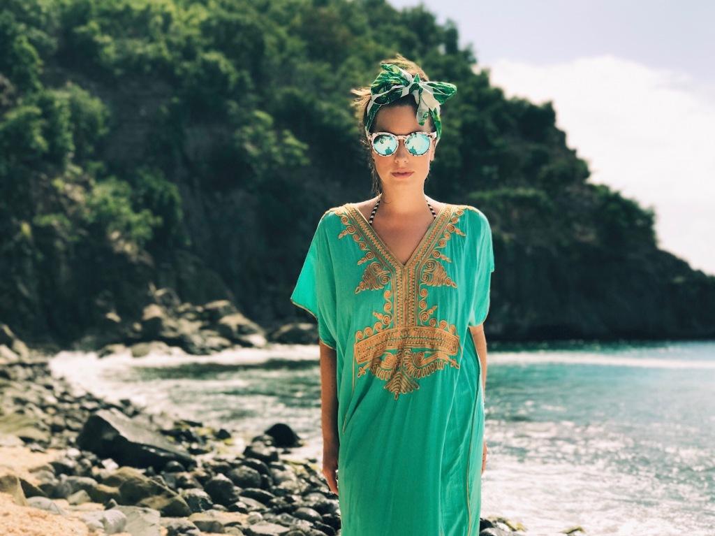 Wedding dress Designer Lauren Elaine explores Shell Beach in St. Barts