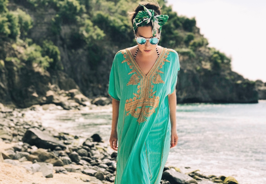 Fashion Designer Lauren Elaine explores Shell Beach on St. Barts