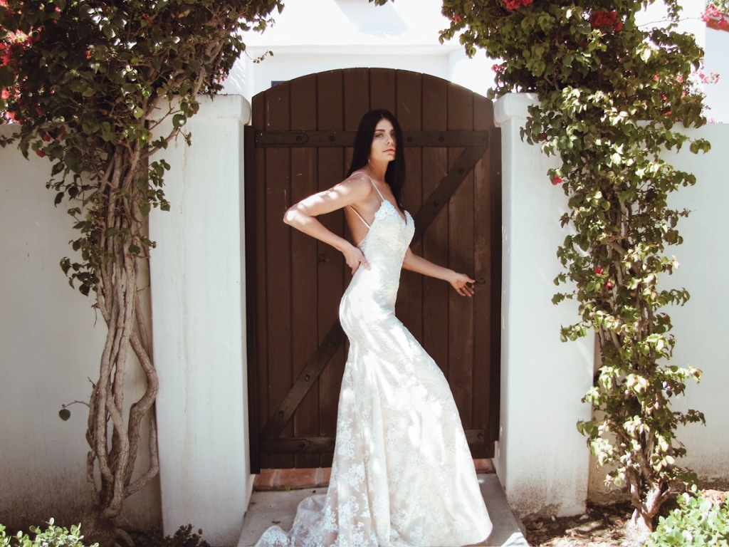 """Lumen"" sparkling crystal mermaid wedding dress by Lauren Elaine Bridal"