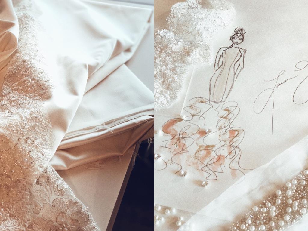 "A sketch of Bridal Designer Lauren Elaine's 2018 ""Widlfire"" collection."