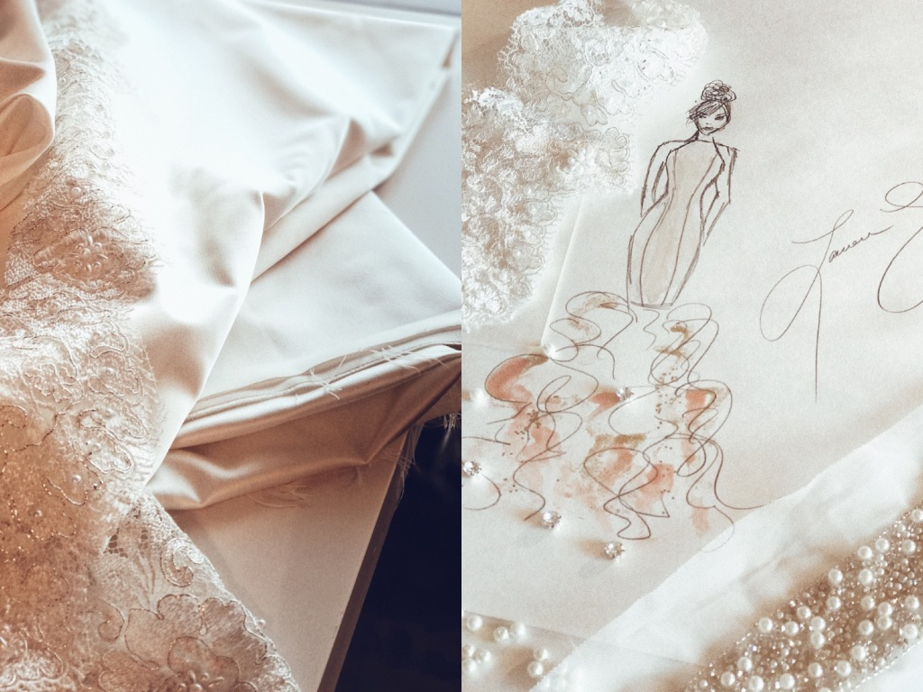 "A sketch of Bridal Designer Lauren Elaine's 2018 ""Widlfire"" collection."