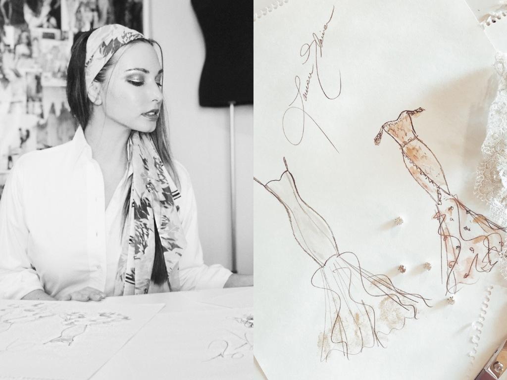 "Bridal Designer Lauren Elaine sketches her 2018 ""Widlfire"" collection."