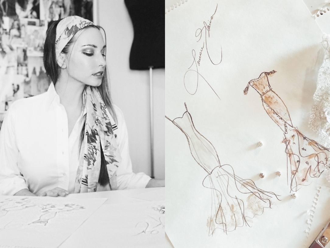 "Bridal Designer Lauren Elaine sketches her 2018 ""Widlfire"" collection."