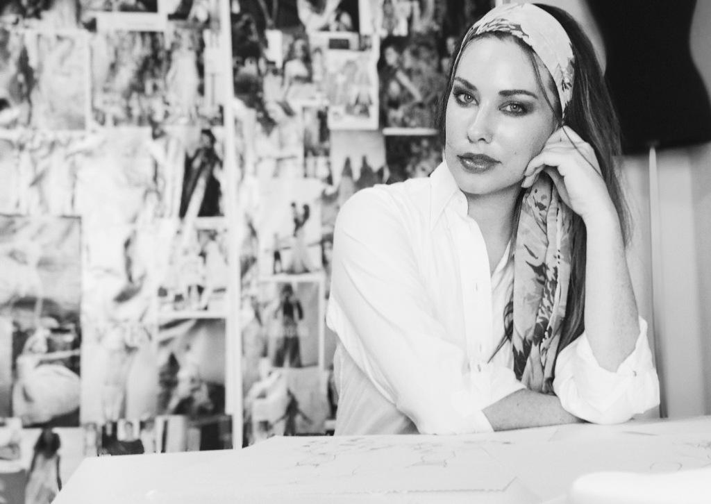 Los Angeles Bridal Designer Lauren Elaine poses in her studio