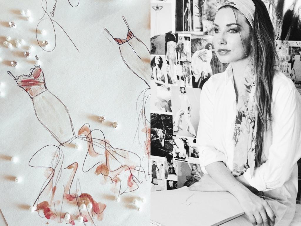 Ombré tulle mermaid wedding dress sketch by Fashion Designer Lauren Elaine.