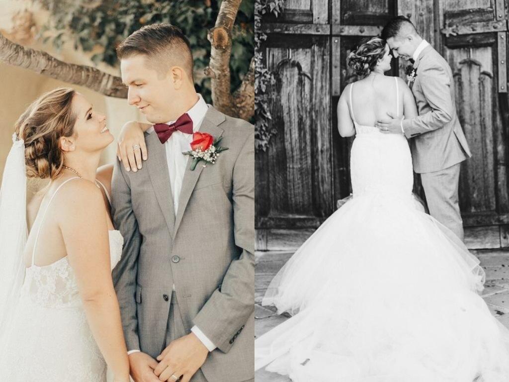 Bride Allyson's custom Lauren Elaine wedding gown at Whispering Rose Ranch in Solvang, CA.