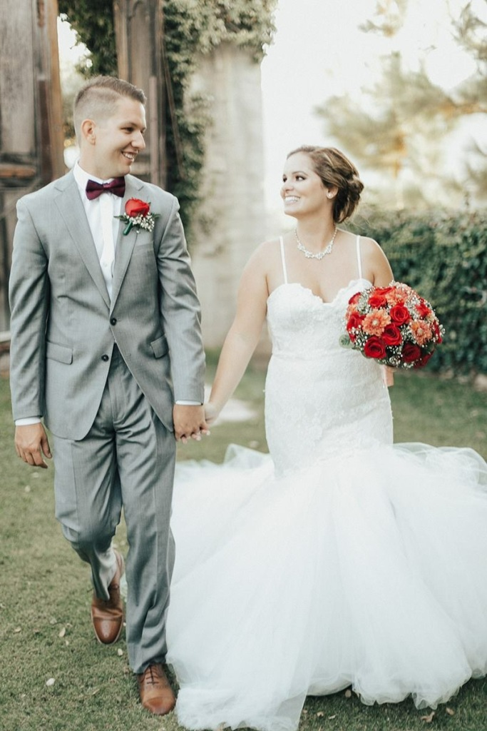 "Bride Allyson's wears a custom ""Calais"" gown by Lauren Elaine Bridal at Whispering Rose Ranch in Solvang, CA"