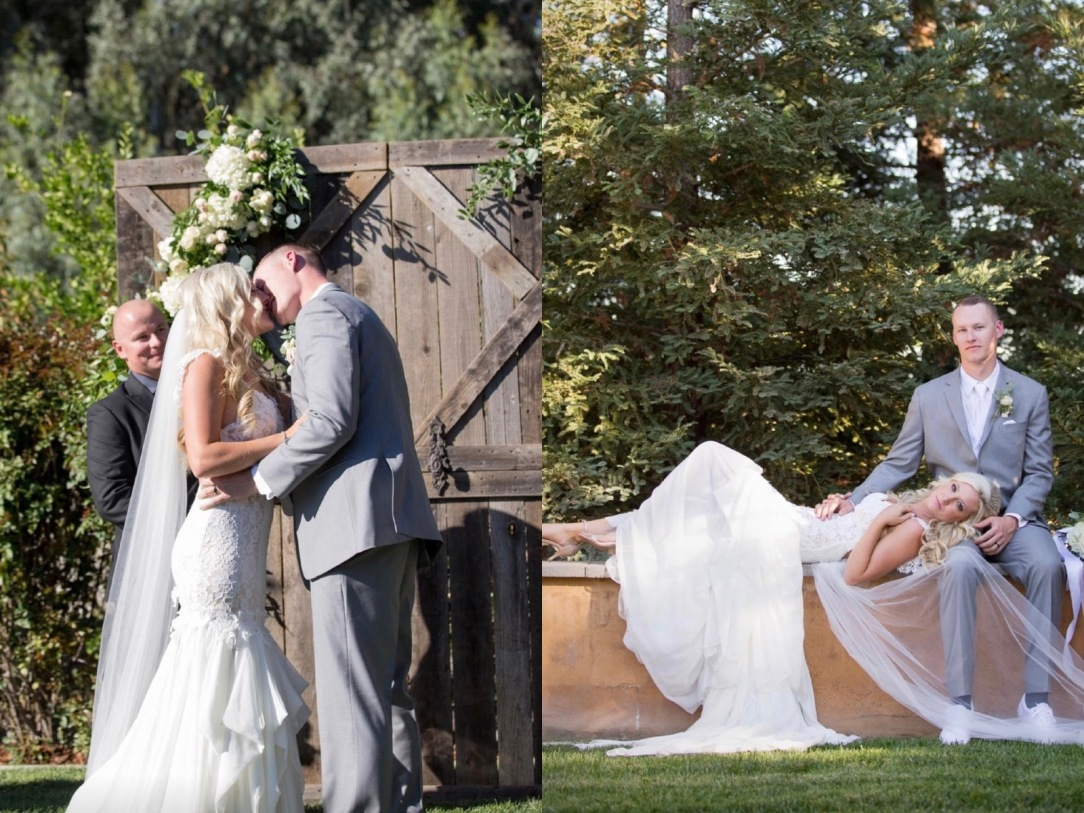 Bride Keri's outdoor california wedding and her Lauren Elaine Aislin mermaid wedding gown.