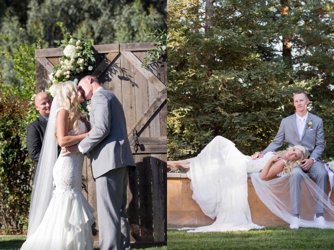 Bride Keri's outdoor california wedding and her Lauren Elaine Aislin mermaid wedding gown.