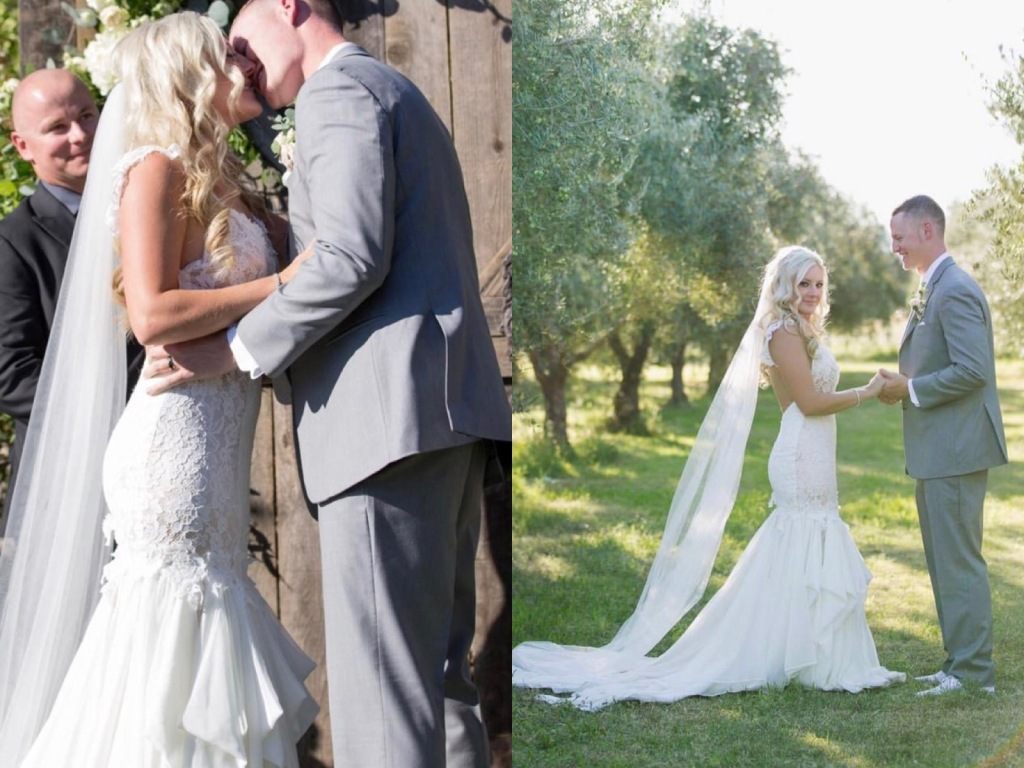 "Bride Keri wears a Lauren Elaine ""Aislin"" gown for her outdoor wedding in Chico, California."